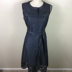 Chico's Chambray Dre's With Crotchet Hemline